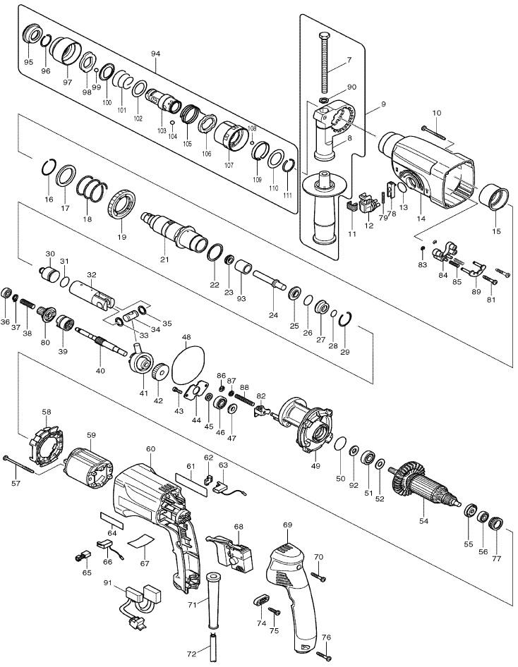 Makita hr2450 схема